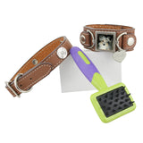 Leather Cuff Photo Bracelet and Collar Combo