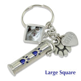 pet ashes keychain urn with photo charm