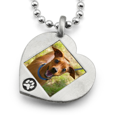 Paw Print Heart Photo Necklace Dog Necklace