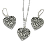 Paw Prints and Bones Heart Crystal Necklace