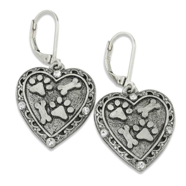Paw Prints and Bones Heart Crystal Earrings