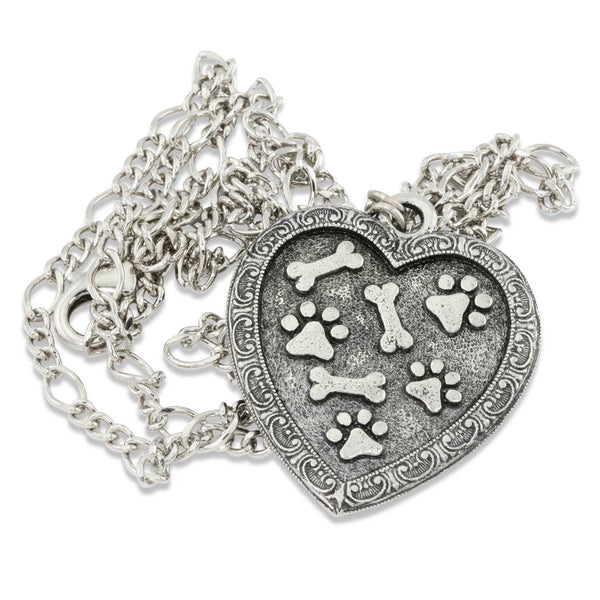 Paw Prints and Bones Heart Pendant Necklace