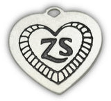 zelda's song heart engraved dog charm front