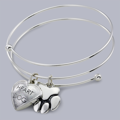 "Chloe ""Heart Dog"" & ""Paw"" Pet Charm Bangle Charm Bracelet, Rhodium Plated"