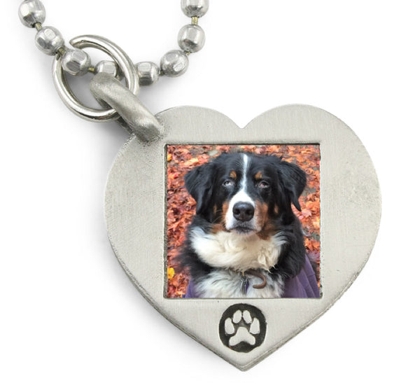 Customer Paw Print Heart Photo Necklace