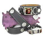 dog collar with matching leather photo bracelets