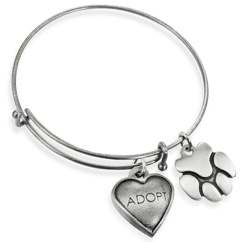 """Adopt & Paw"" Pet Charm Wire Bangle Bracelet 