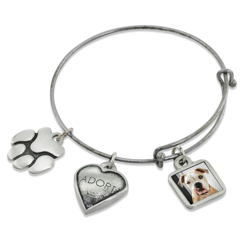 """Adopt & Paw"" Dog Charm Photo Wire Bangle Bracelet 