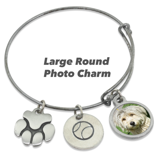 """Ball & Paw"" Dog Charm Photo Wire Bangle Bracelet 