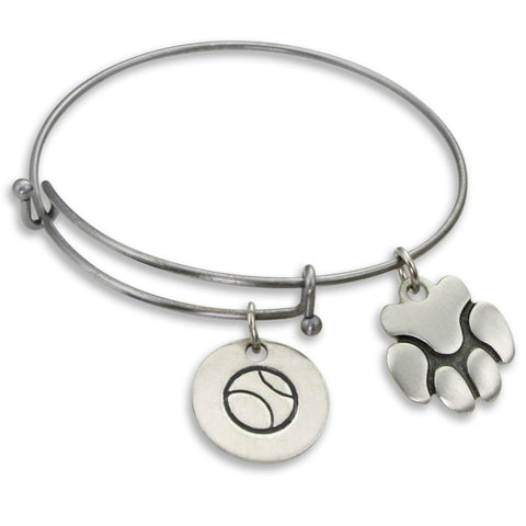 """Ball & Paw"" Pet Charm Wire Bangle Bracelet 