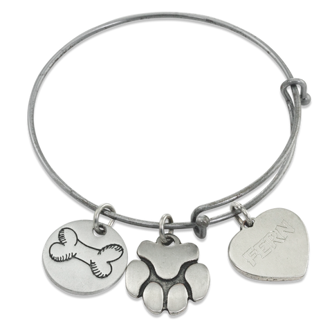 """Bone & Paw"" Pet Charm Wire Bangle Bracelet 