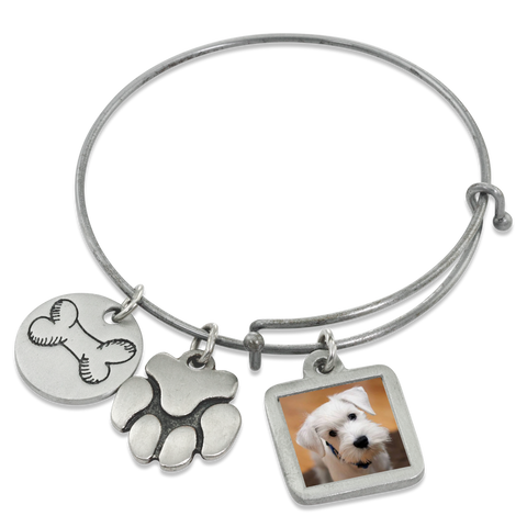 """Bone & Paw"" Dog Charm Photo Wire Bangle Bracelet 
