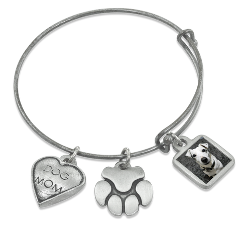 """Dog Mom & Paw"" Dog Charm Photo Wire Bangle Bracelet 
