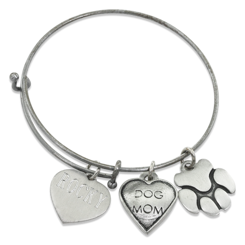 """Dog Mom & Paw"" Pet Charm Wire Bangle Bracelet 
