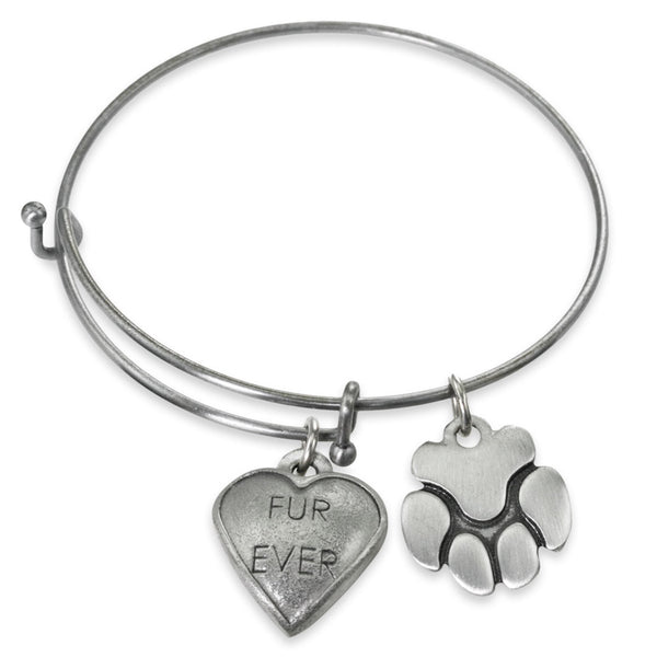 """FurEver & Paw"" Pet Charm Wire Bangle Bracelet 