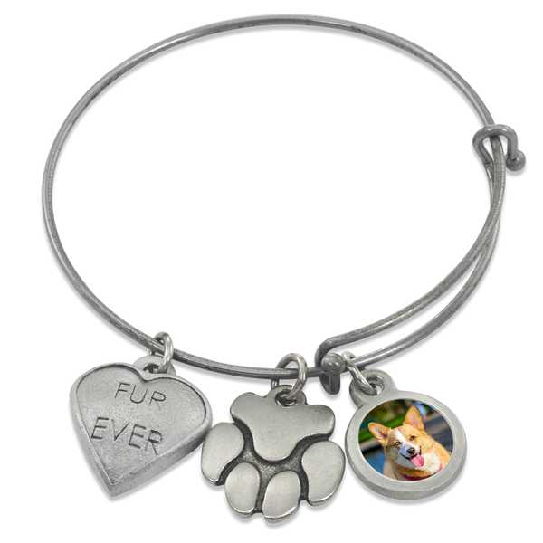 """Fur Ever & Paw"" Wire Bangle Photo Bracelet with Pet Charms 