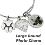 """Heart Dog & Paw"" Dog Charm Photo Wire Bangle Bracelet 