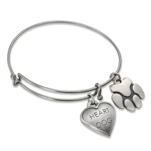 """Heart Dog & Paw"" Pet Charm Wire Bangle Bracelet 