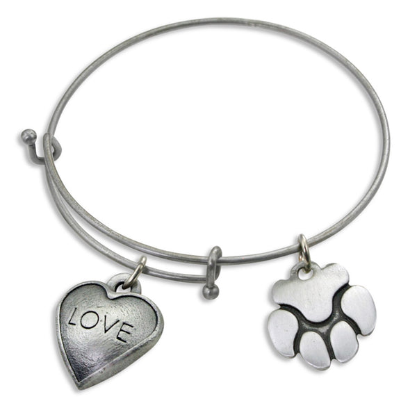 """Love & Paw"" Pet Charm Wire Bangle Bracelet 