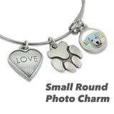 """Love & Paw"" Dog Charm Photo Wire Bangle Bracelet 