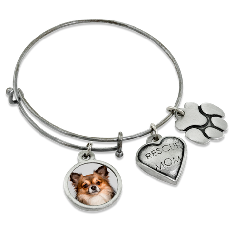 """Rescue Mom & Paw"" Dog Charm Photo Wire Bangle Bracelet 