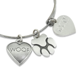 """Woof & Paw"" Pet Charm Wire Bangle Bracelet 