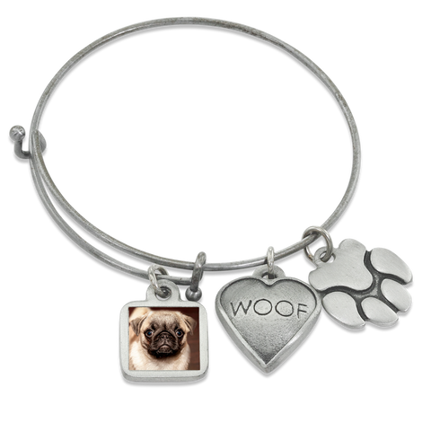 """Woof & Paw"" Dog Charm Photo Wire Bangle Bracelet 