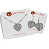 Paw Prints and Bones Heart Crystal Necklace and Earrings Set