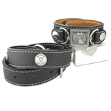 Paw Print Leather Cuff Bracelet and Collar Combo