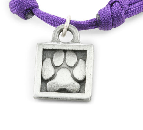 paw print necklace, paw print jewelry, paracord jewelry