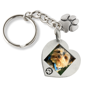 paw print heart photo keychain