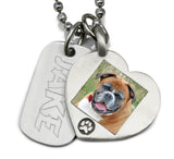 photo necklace pet memorial necklace with dog tag jewelry engraved