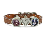 pet memorial photo jewelry, leather bracelet with charms, dog bracelet