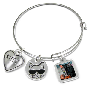 cat bangle bracelet with picture