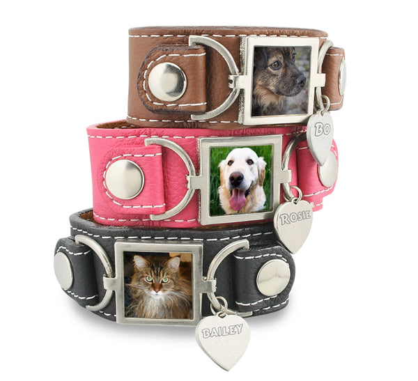 Pet Memorial Photo Bracelet Leather Cuff Photo Bracelet