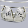 "Chloe ""Woof"" & ""Love"" Dog Charm Bangle Bracelet in Rhodium Plating"
