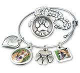 paw print necklace, bangle bracelet, photo charm bracelet