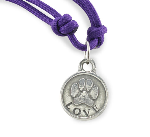 dog necklace, paracord necklace with dog paw print