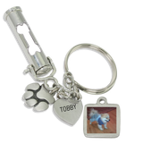 DOG BONE Pet Ashes Urn Keychain With Picture Charm, Paw Print Charm and Engraving - Customer's Product with price 57.00 ID TwYMgbnSauhRPhhfL0yAtZeU