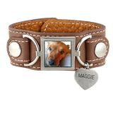 Leather Cuff Photo Bracelet Pet Memorial Jewelry - Customer's Product with price 95.00 ID GEWjSfO0grB8ZCQh-SmJK-66
