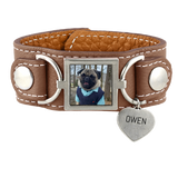 Leather Cuff Photo Bracelet Pet Memorial Jewelry - Customer's Product with price 95.00 ID 4OlZ0CW_pt2GKsJd6Q65FIjk
