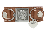 Paw Print Leather Cuff Bracelet - Customer's Product with price 65.00 ID Tsr7l6bdPdi8cL2Fk4IsXWQS