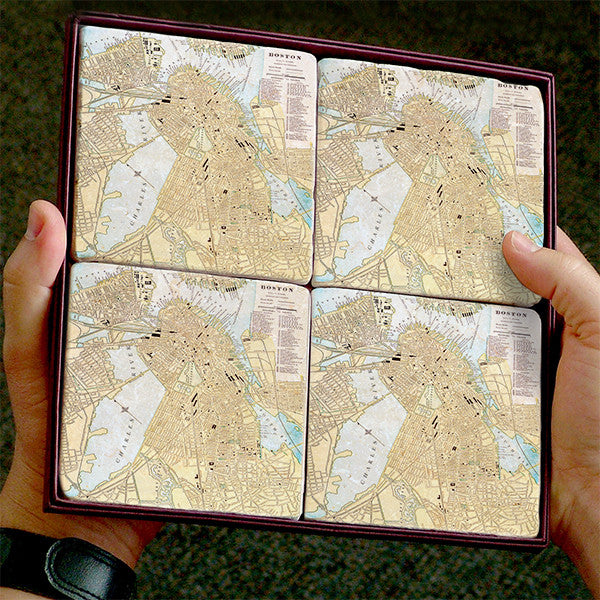 Antique Boston Map Marble Coaster Set By Screencraft Tileworks - Antique boston map
