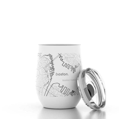 Well Told - Boston MA Map 12 oz Insulated Wine Tumbler
