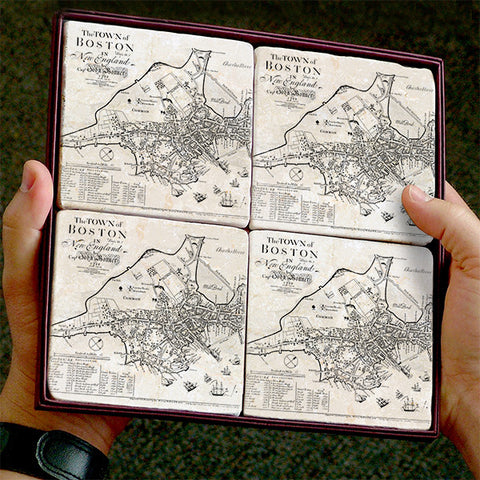 Vintage Boston Map Marble Coaster Set by Screencraft Tileworks