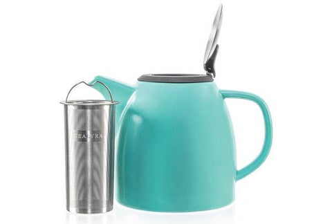 TEALYRA - Drago Turquoise Ceramic Teapot With Infuser 37oz