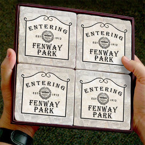 Entering Fenway Marble Coaster Set by Screencraft Tileworks