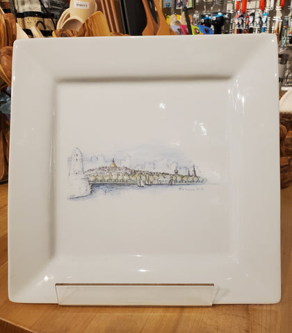 Boston Skyline Decorative Porcelain Platter ~ Blackstone's Exclusive by Ox Bow Decor