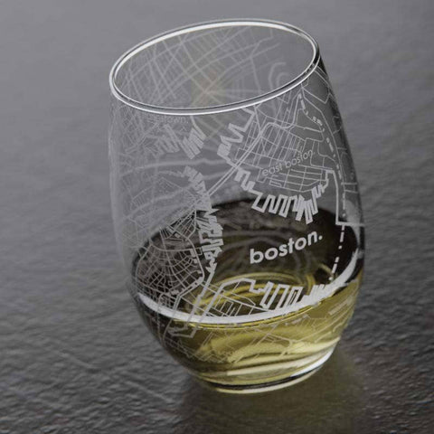 Well Told - Boston MA Map Stemless Wine Glass