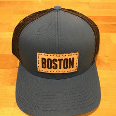Boston Leather Patch Trucker Hat - Ocean Blue/Charcoal/Ocean Blue